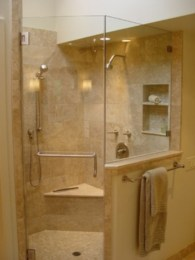 Half wall shower for your small bathroom design ideas 22