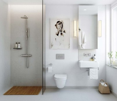 Half wall shower for your small bathroom design ideas 26