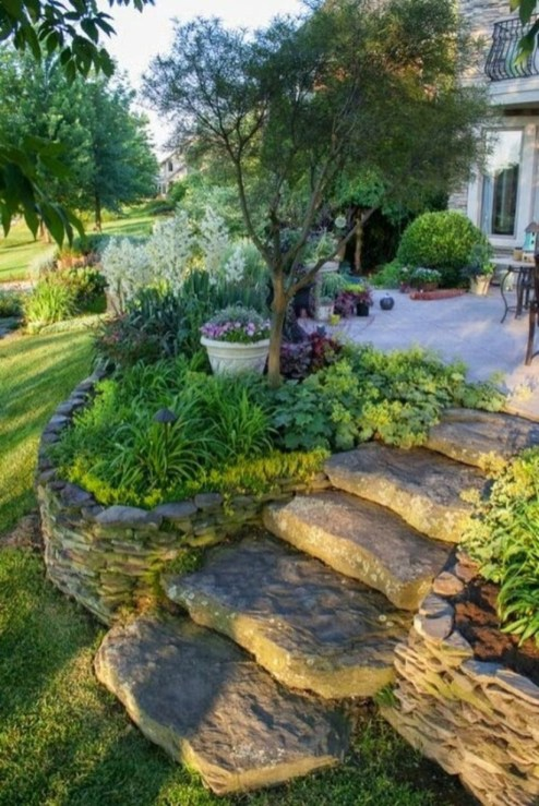 Outdoor garden decor landscaping flower beds ideas 23