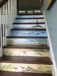 Painted staircase ideas which make your stairs look new 27