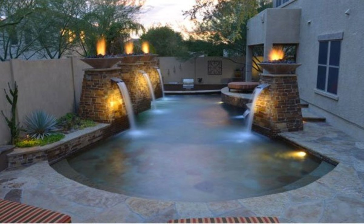 Pool waterfalls ideas for your outdoor space 03