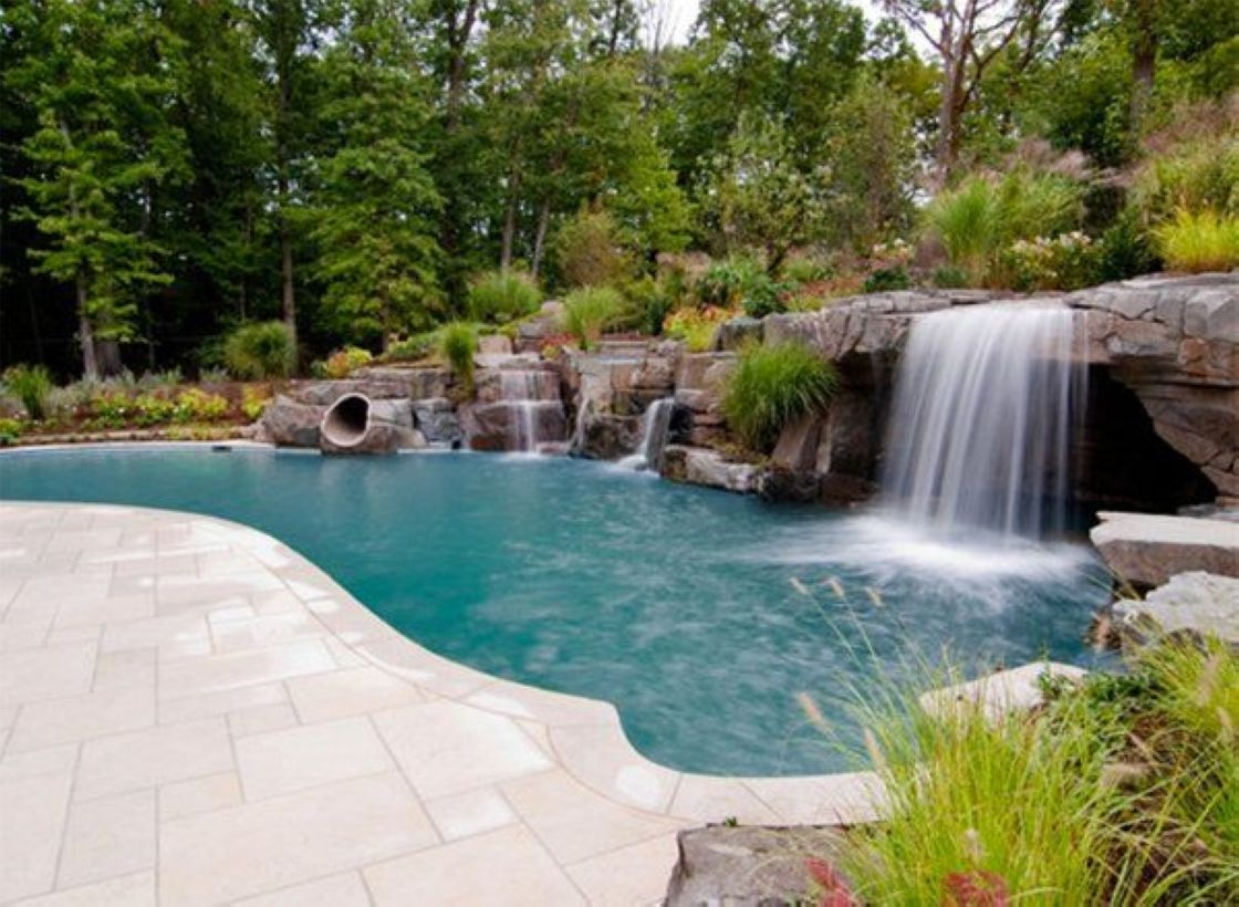 Pool waterfalls ideas for your outdoor space 05