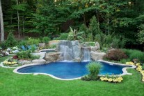 Pool waterfalls ideas for your outdoor space 16