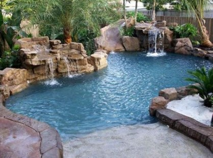 Pool waterfalls ideas for your outdoor space 24