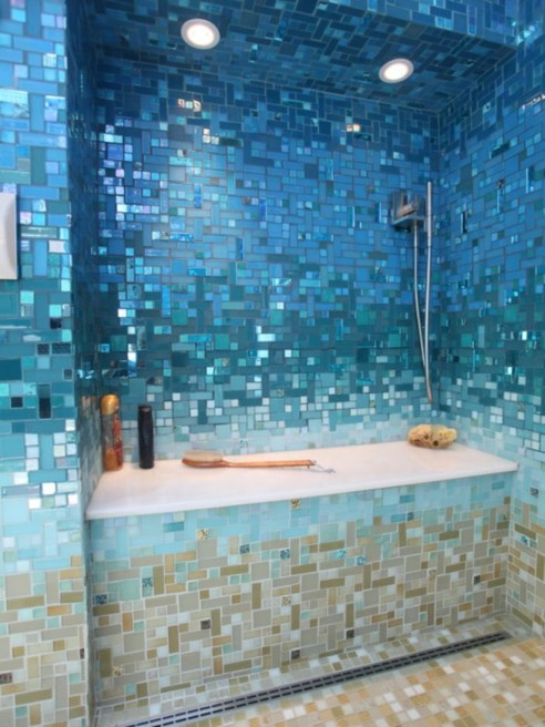 Stunning mosaic tiled wall for your bathroom 05