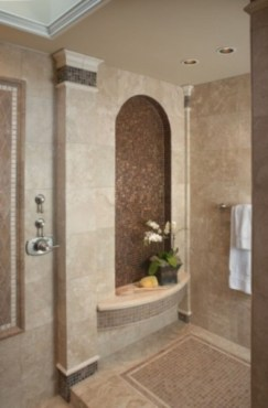 Stunning mosaic tiled wall for your bathroom 07