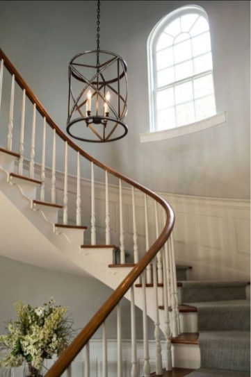 Ways to decorate with chandelier over the stairs 40