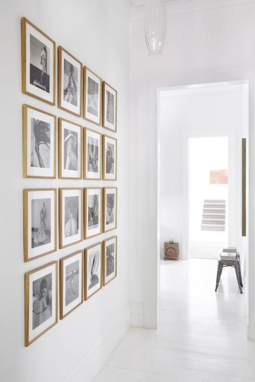 White wall and picture frames in hallway decorating ideas 10
