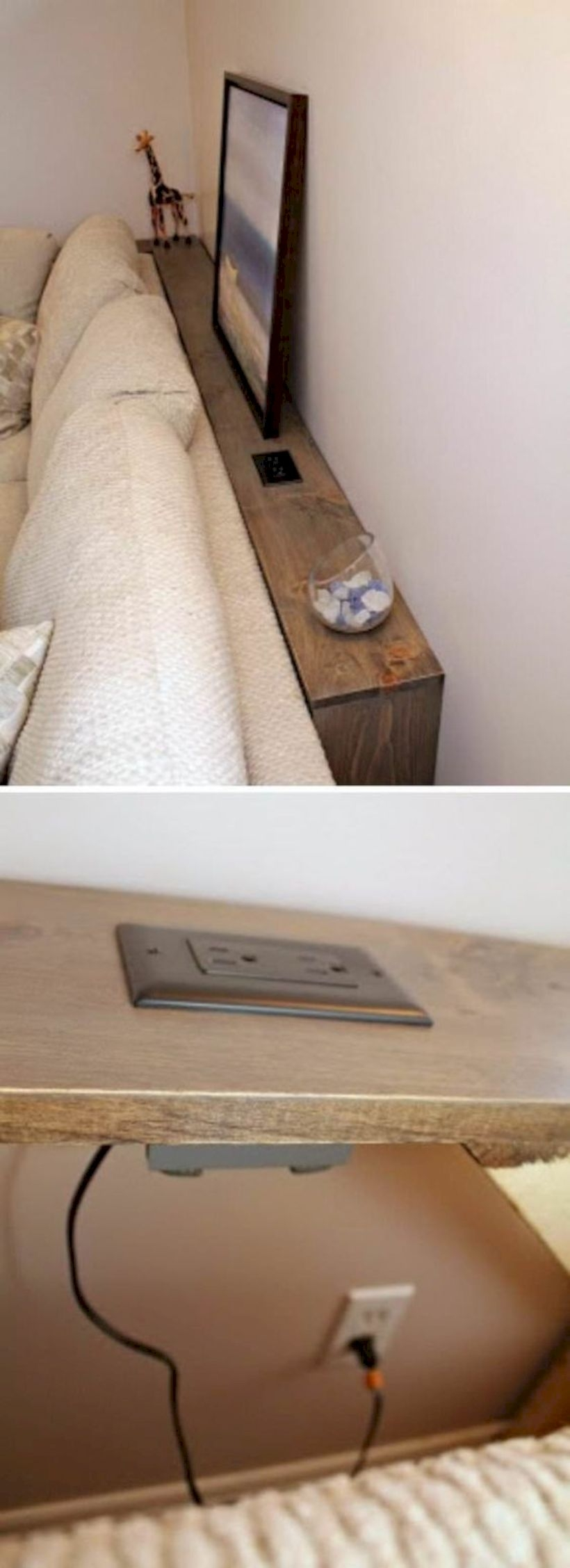 A behind-the-sofa table with an outlet built in