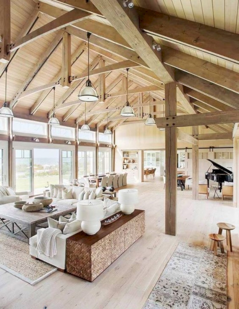 Barn house vaulted ceilings living room