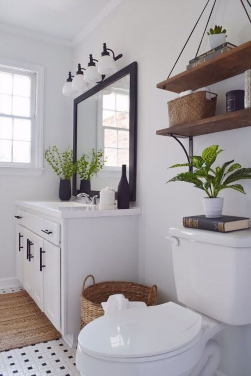Black and white bathroom with farmhouse style