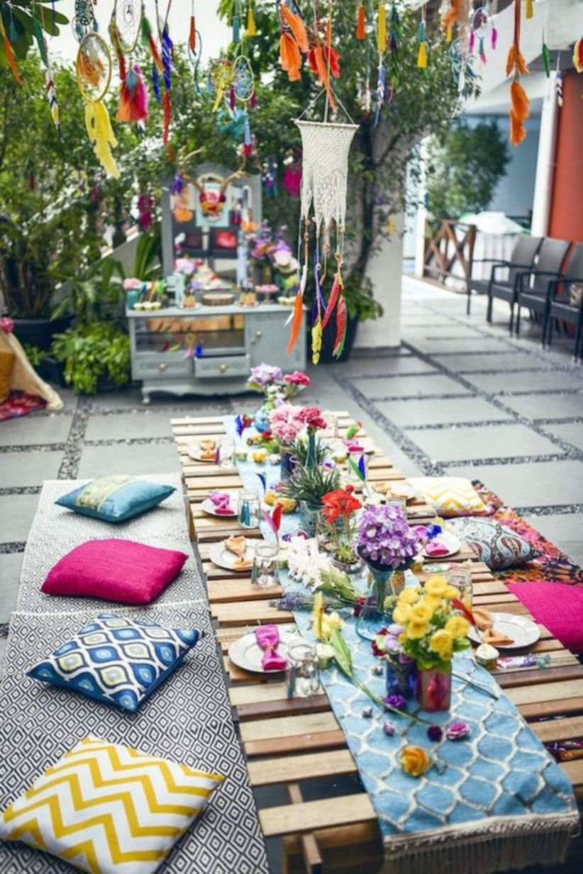 Colorful guest table from a boho tribal birthday party