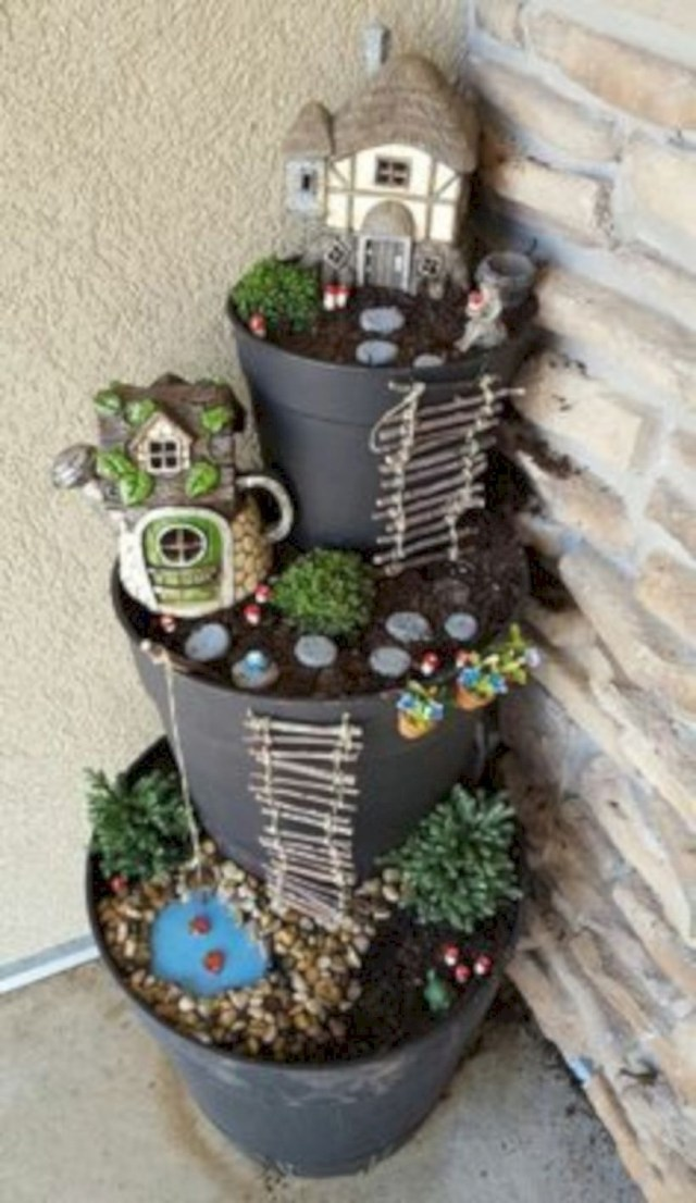 Diy fairy garden tower