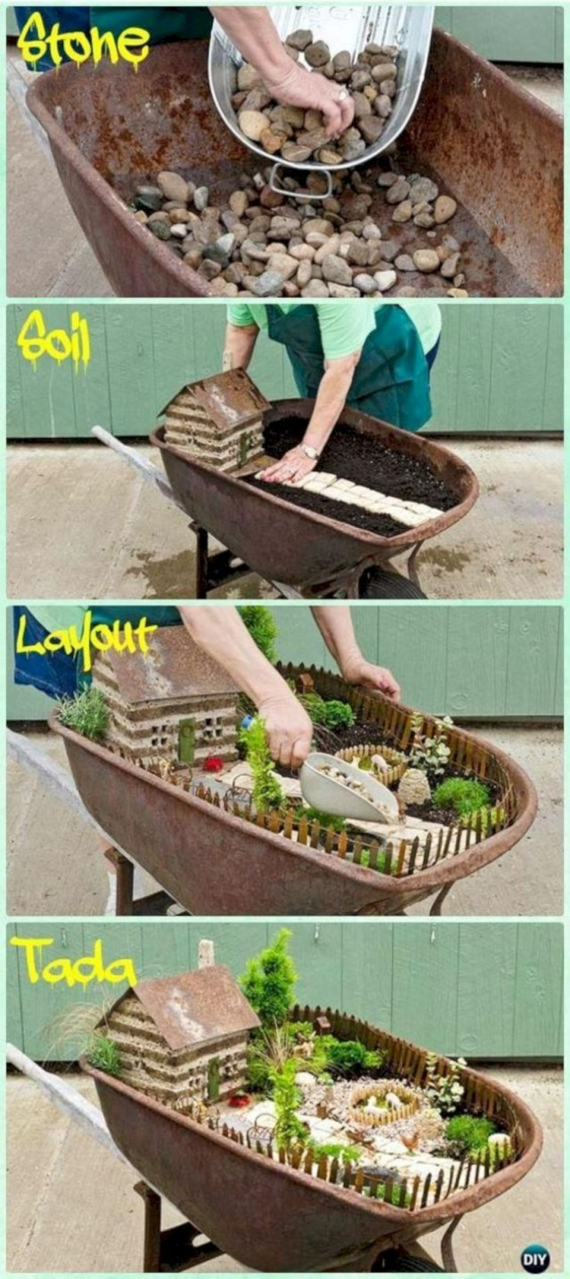 Diy wheelbarrow fairy garden instruction