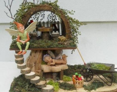 Fairy garden made of wood pieces