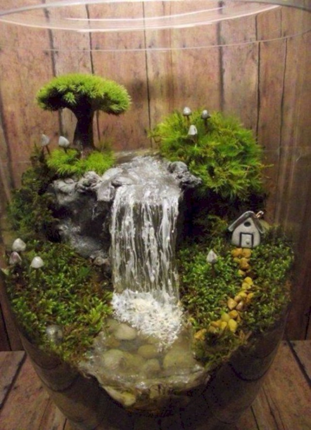 Fairy garden in glass tube
