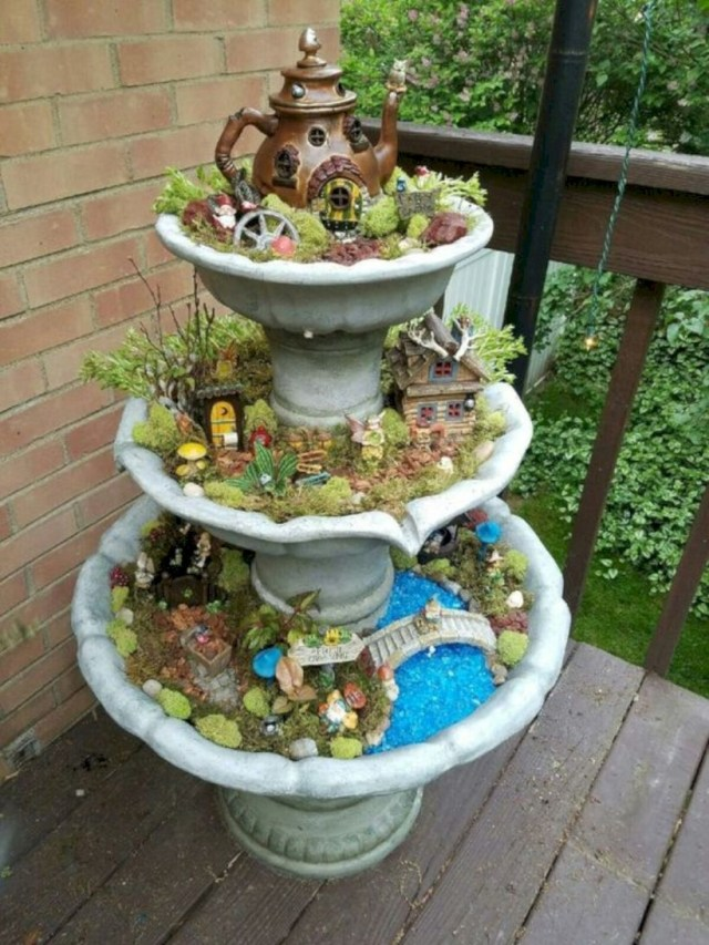 Fountain fairy garden