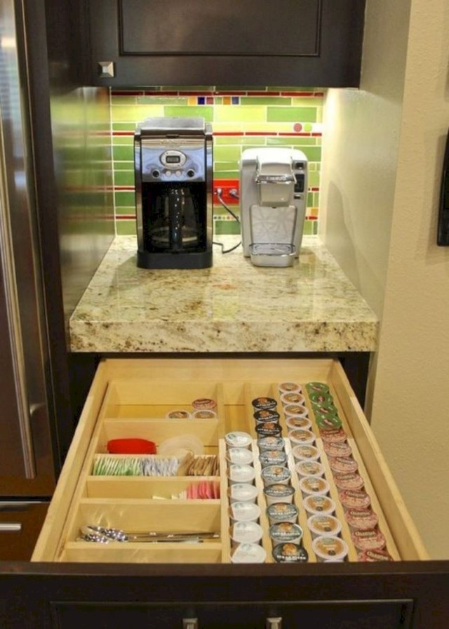 Keurig coffee station with k-cup drawer storage