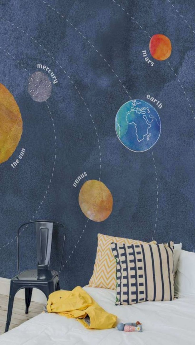 Kids solar system planets wall mural