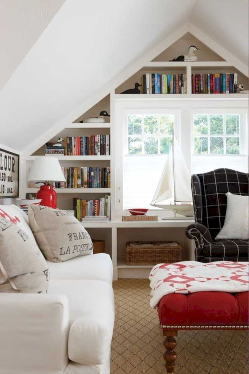 Lovely storage for books at the attic