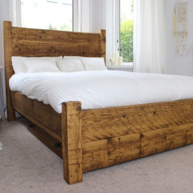 Luxury moss double & king size reclaimed wood bed