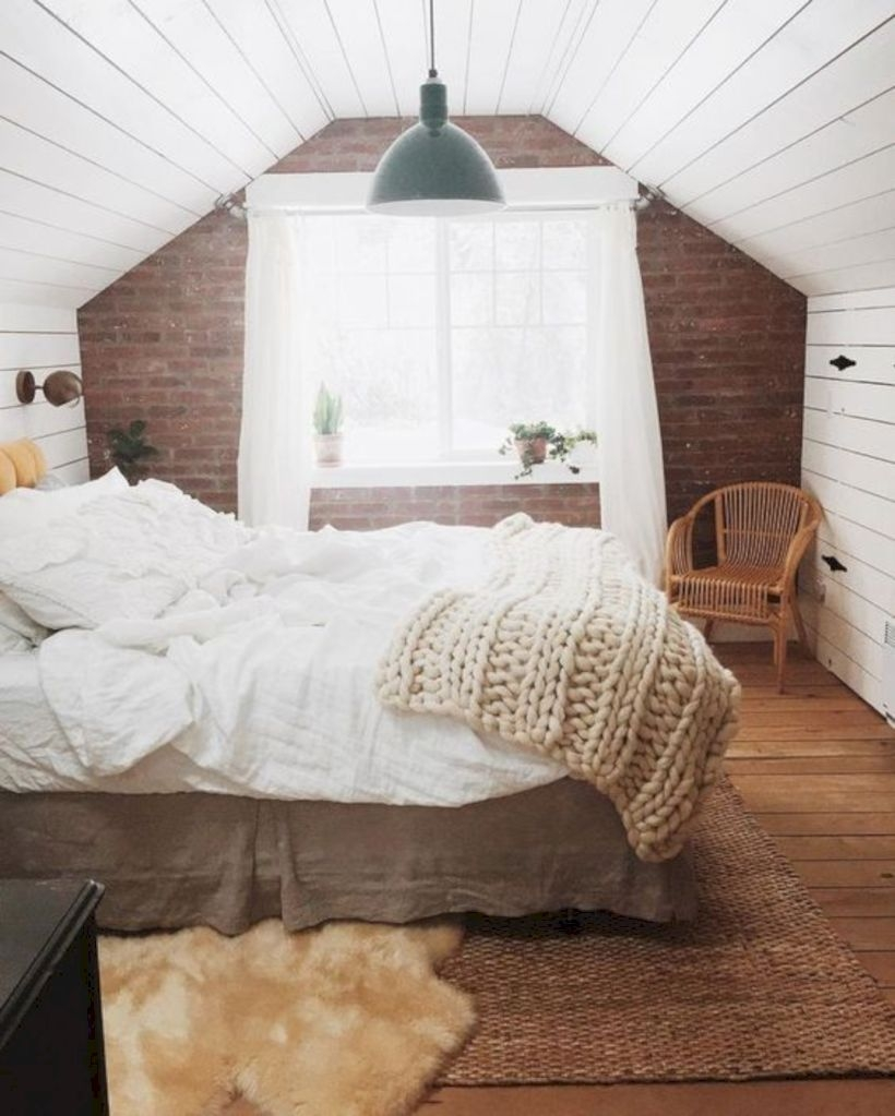 Master bedroom with the brick