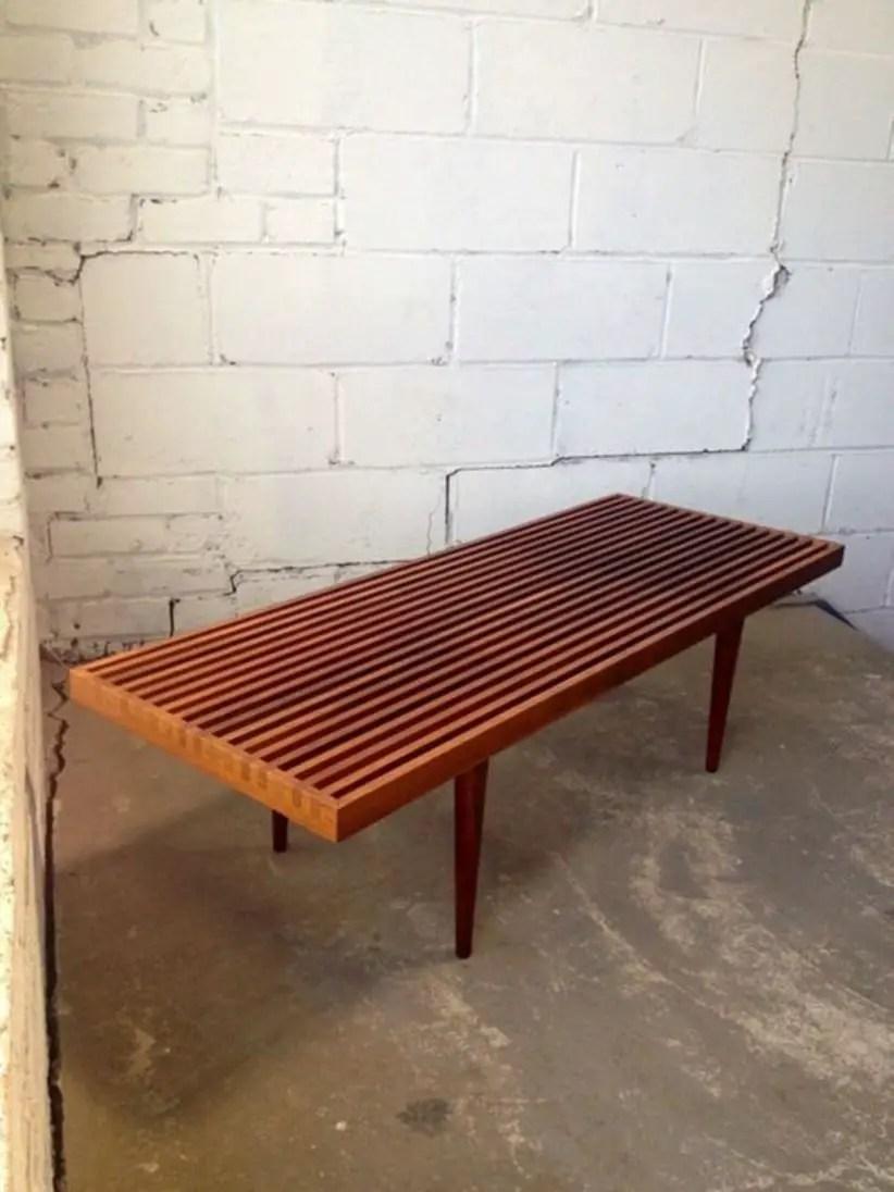 Mid century danish modern dovetailed slat bench