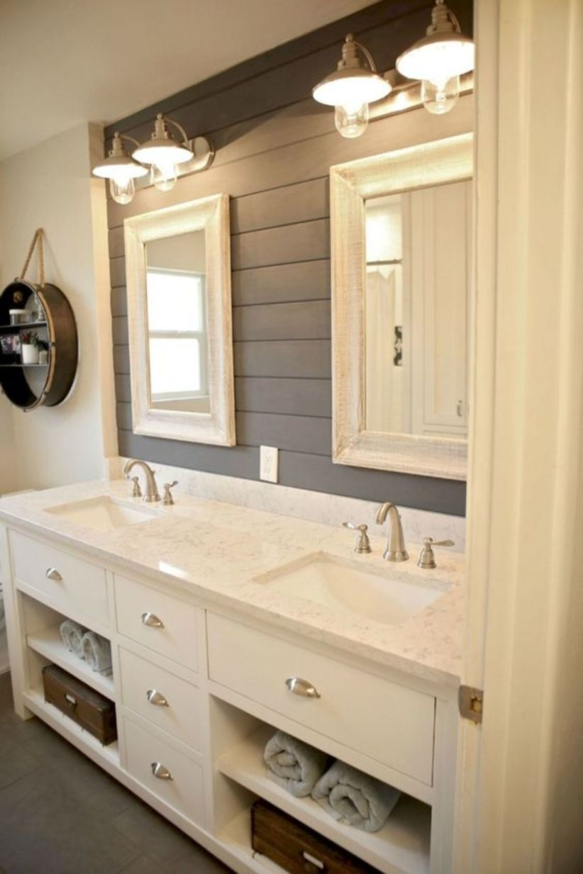 Modern farmhouse bathroom decor ideas with cabinets designs