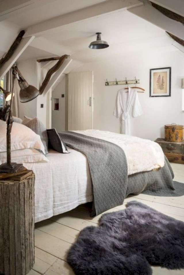 Modern rustic bedroom in the attic