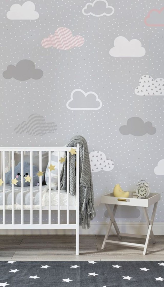 Pink and grey clouds pattern wall mural
