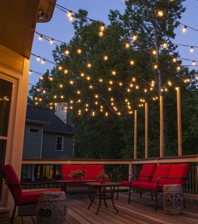 Plan and hang patio lights for outdoor living space