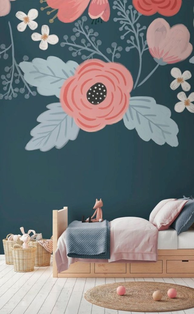 Rosa blue floral wall mural