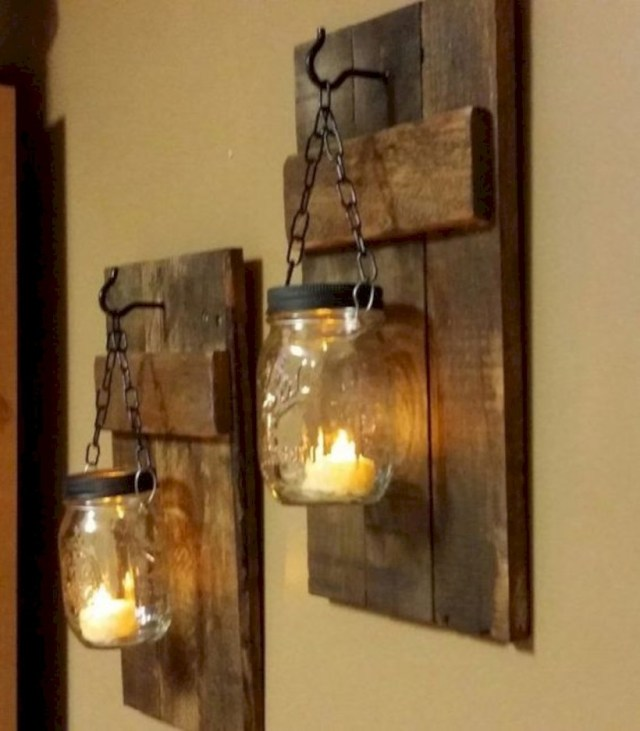 Rustic wood candle holder