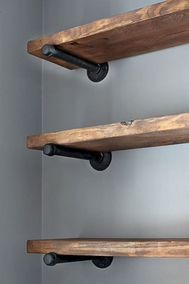 Rustic wood shelving