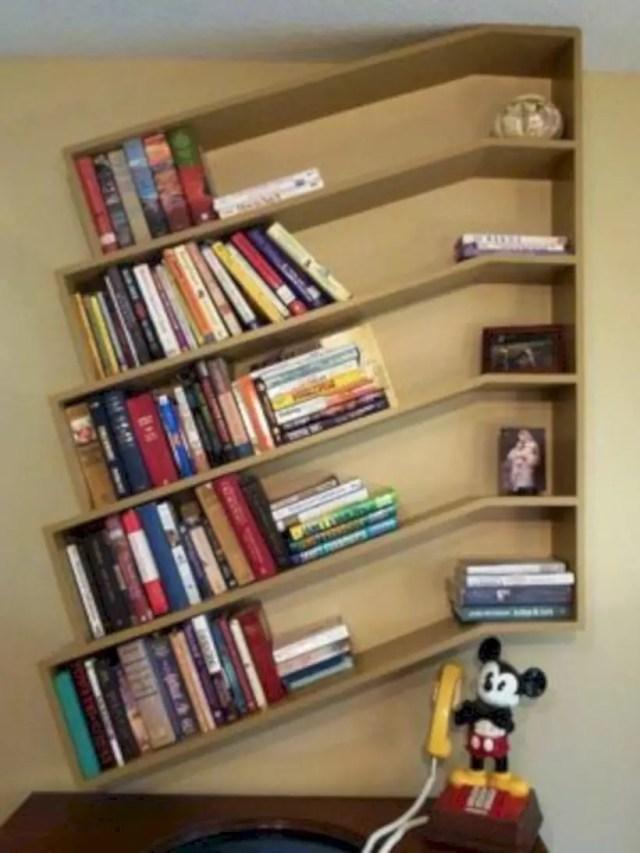 Slanted bookshelves