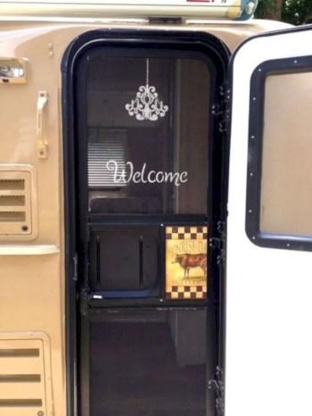 Stenciling the screen door on a casita travel trailer