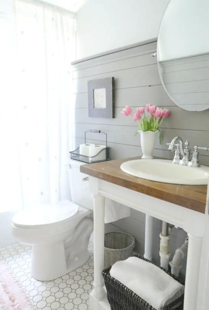 Style a modern farmhouse bathroom