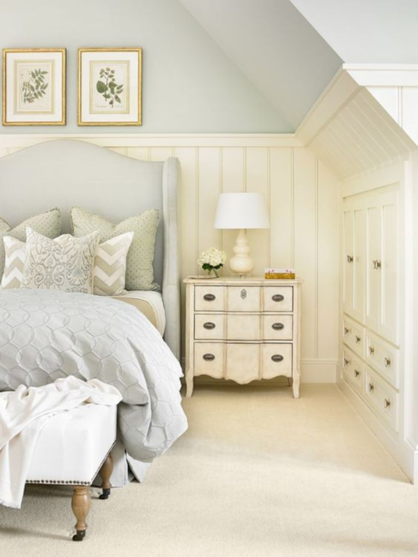 Antique blue, sand, and creamy white classic bedroom