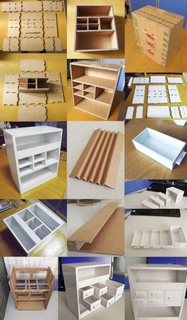 Desk with drawers is made out paper box