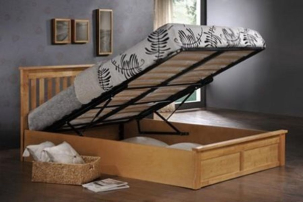 White wooden alaska ottoman storage bed with bed king size