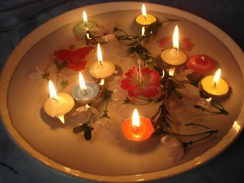 5. floating candles on the water
