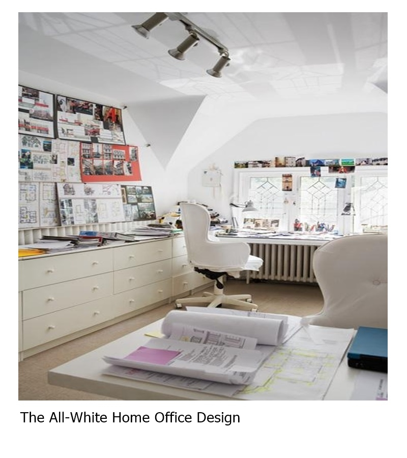 The all-white home office design
