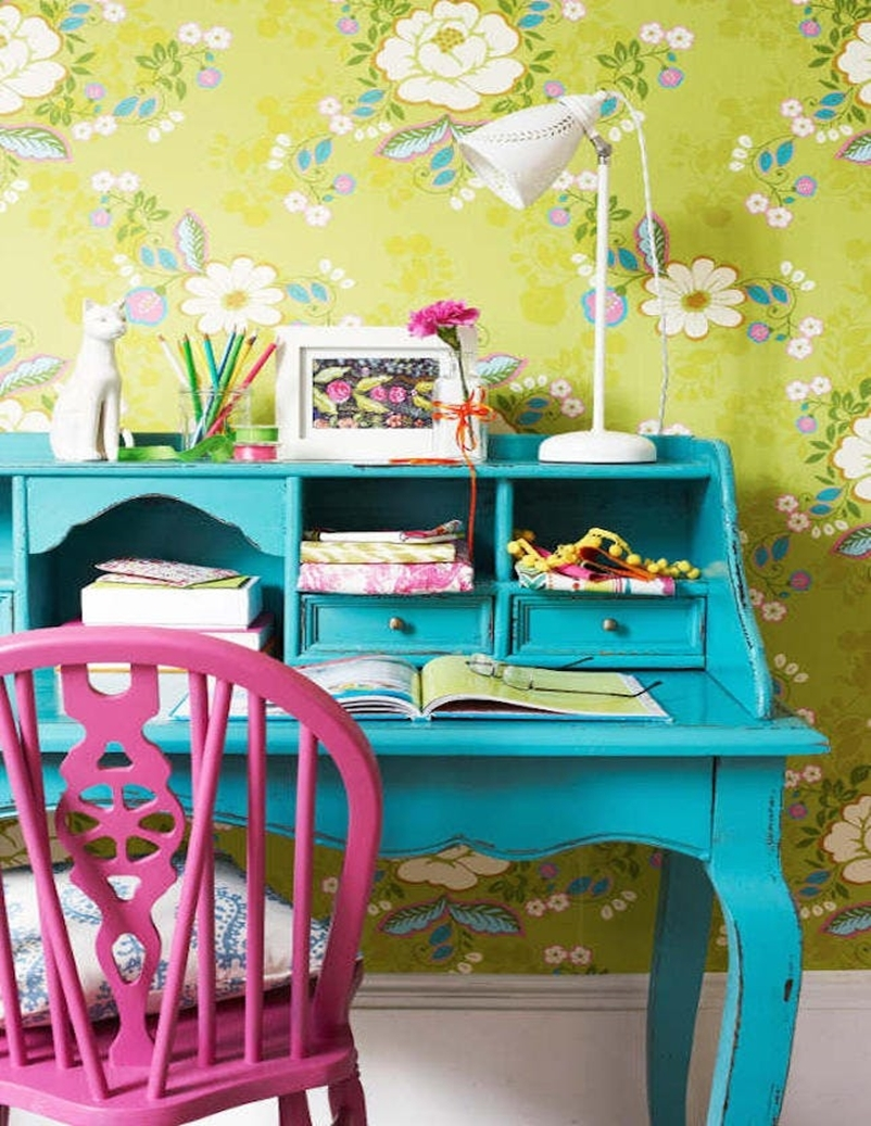 10 colorful home office design ideas to brighten up your for Colorful office furniture