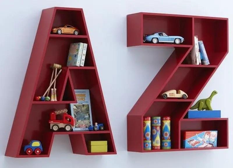 9. alphabet wood shelves