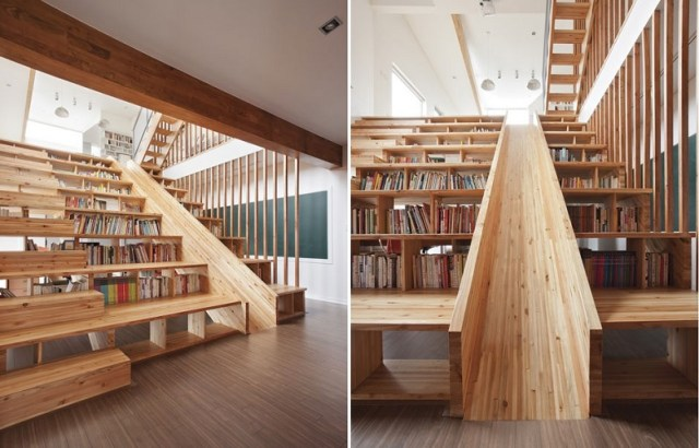 Staircase but also bookcase