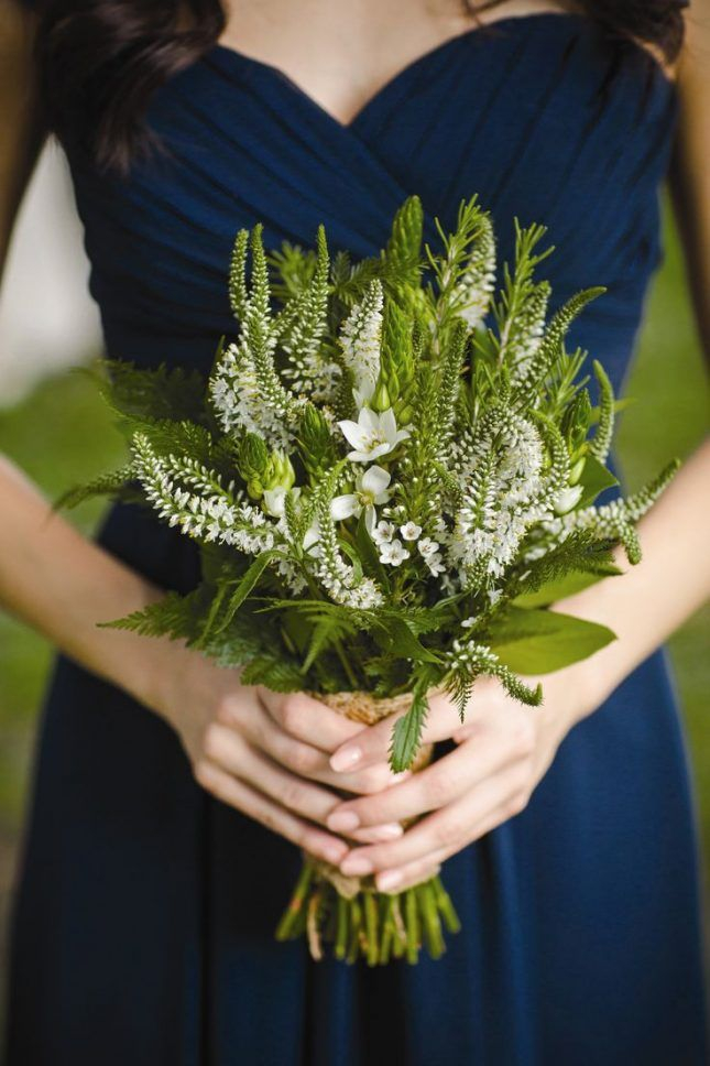 All-greenery wedding bouquets