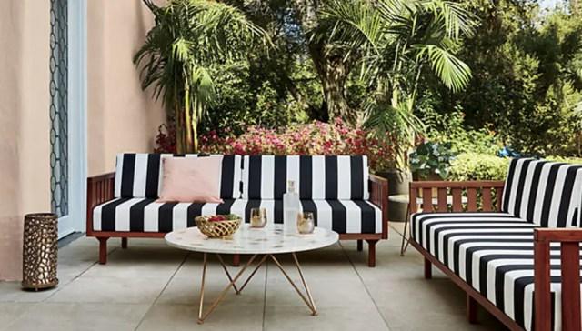 Black and white stripe sofa