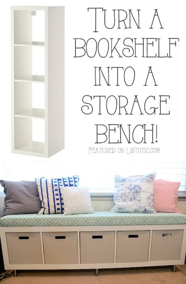 Bookshelf storage bench