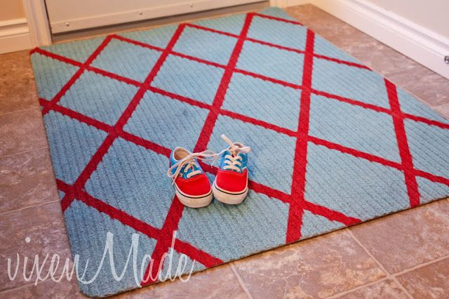 Diy diagonal striped rug