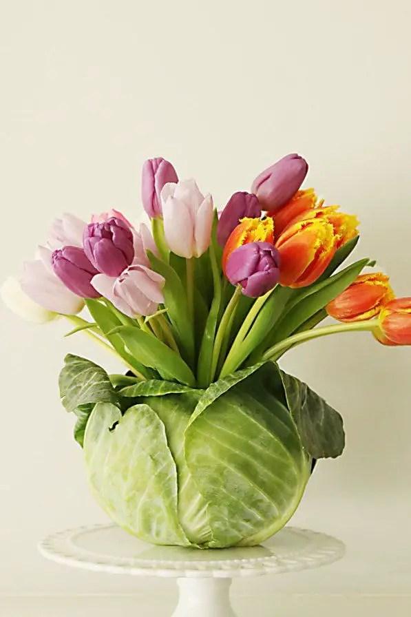 Diy tulip cabbage arrangement